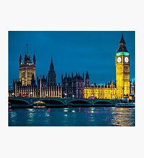 Big Ben Houses of Parliament and Westminster Bridge London at night. Photographic Print