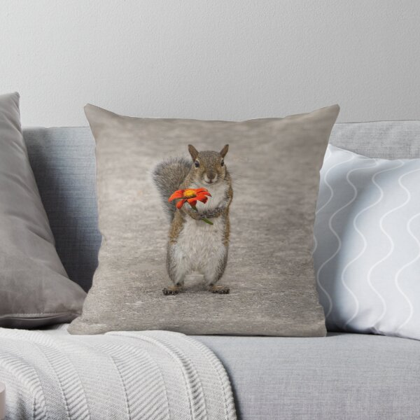Special For You, Squirrel With Flower Throw Pillow