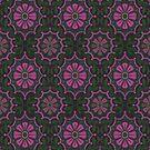 Folk Flower, Bohemian Arabesque Vintage Floral Pattern by clipsocallipso