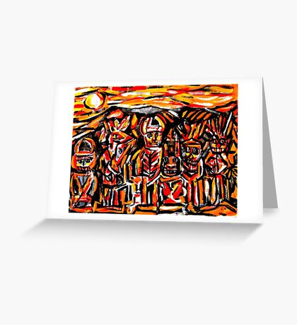 chief crow & the ancient masked indians...a portrait Greeting Card
