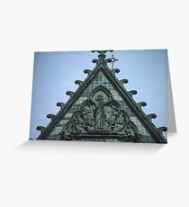 Christ triumphant on top of facia Nidaros Trondheim Norway 19840622 0014 Greeting Card