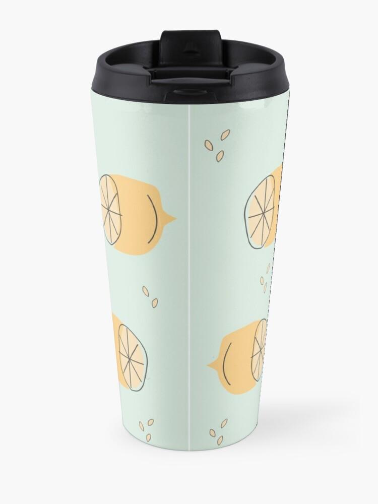 Alternate view of Lemon Pattern Illustration Travel Mug