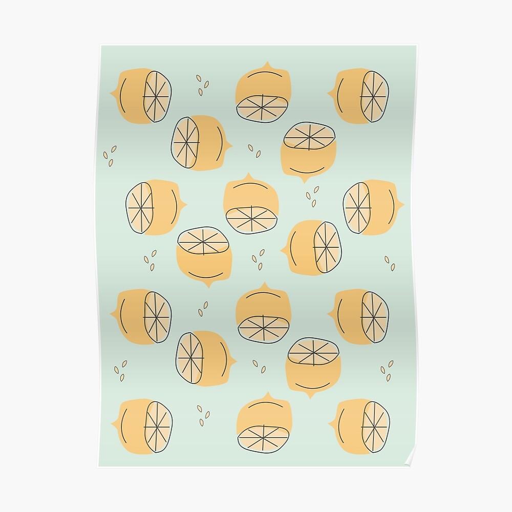 Lemon Pattern Illustration Poster
