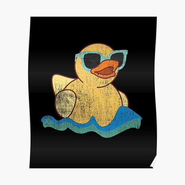 Vintage Cute Yellow Rubber Duckling Art Of Zoo Bath Toy Rubber Duck Ducky Poster