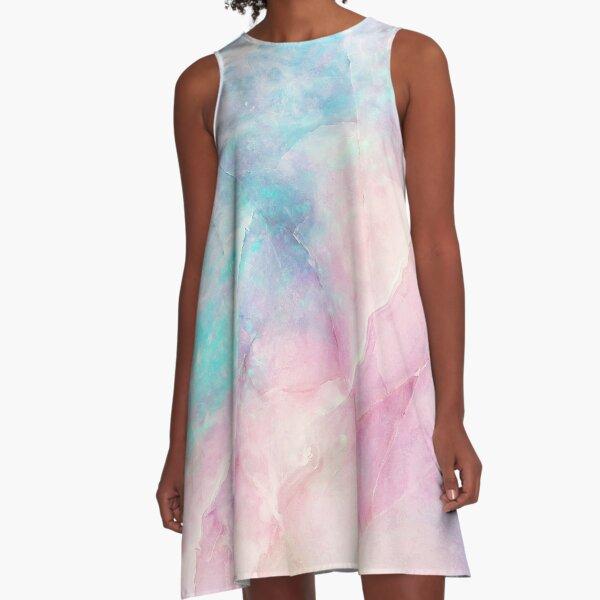 Schillernder Marmor A-Linien Kleid