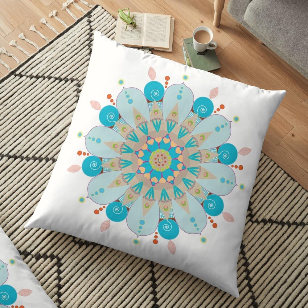 "Mandala fleur, ""Mer & sable"" Floor Pillow"