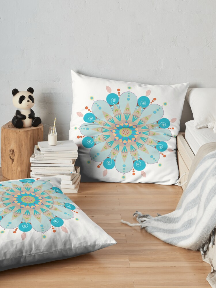"Alternate view of Mandala fleur, ""Mer & sable"" Floor Pillow"
