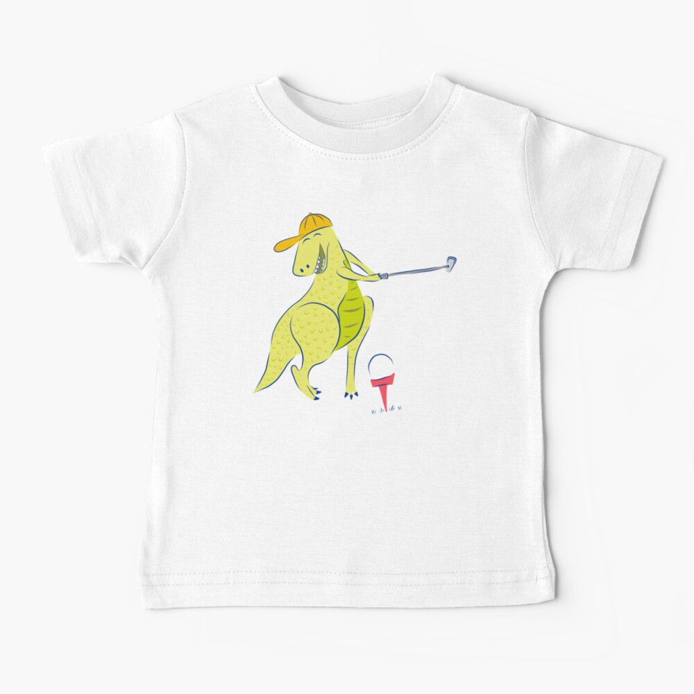 Happy Golfing Dinosaur Baby T-Shirt