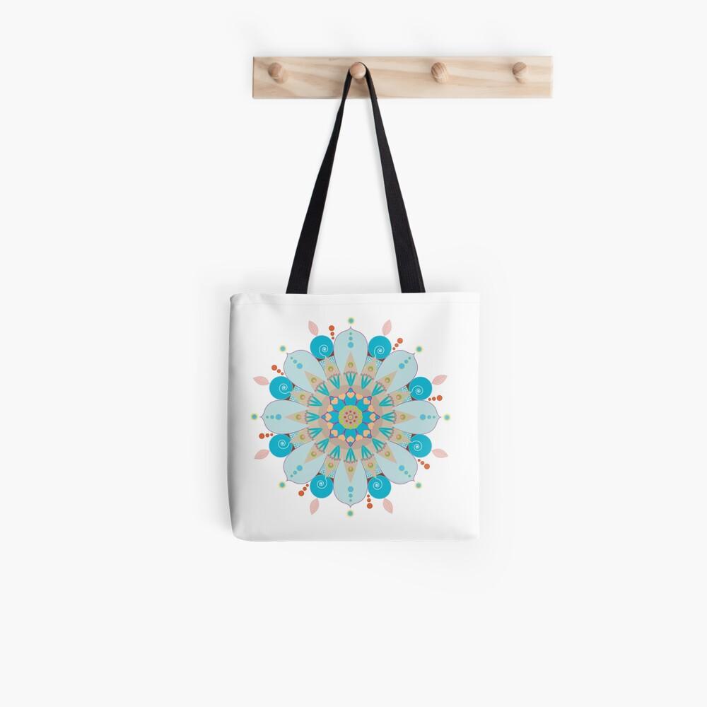 """Tote bag «Mandala fleur, """"Mer & sable""""»"""