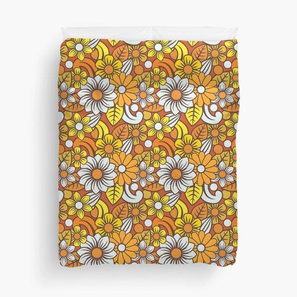 Retro 70s Flower Pattern  Duvet Cover