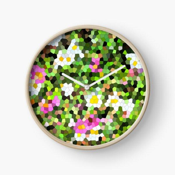 Fleur vitrail #1 Horloge
