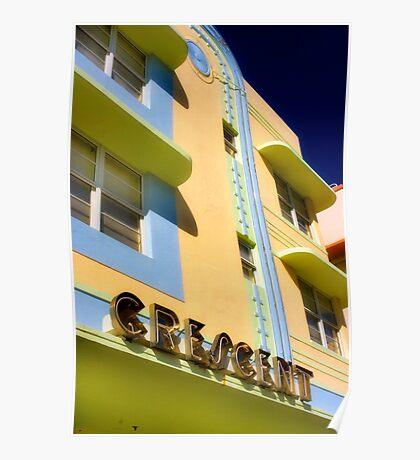 crescent building, south beach, florida Poster