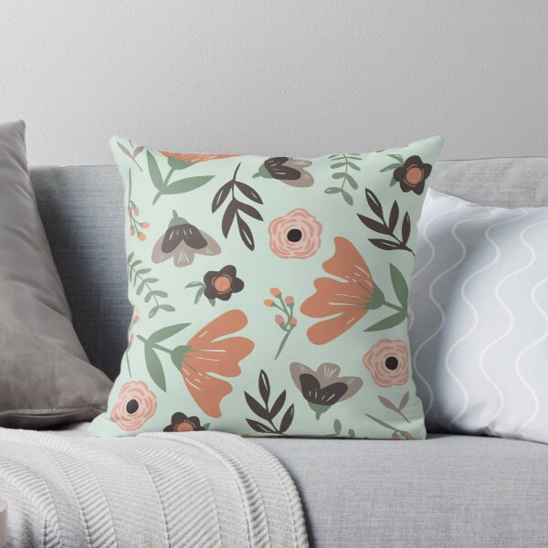 Floral Illustration Pattern Throw Pillow