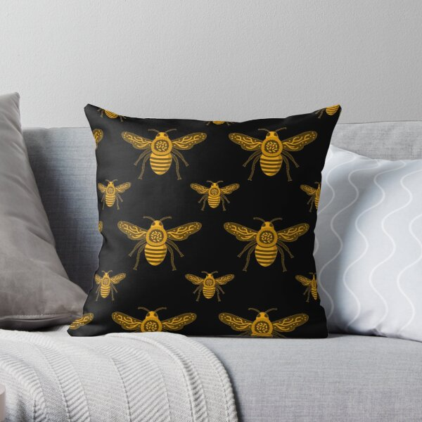 Bees Pattern Yellow Gold On Black Insect Art Throw Pillow