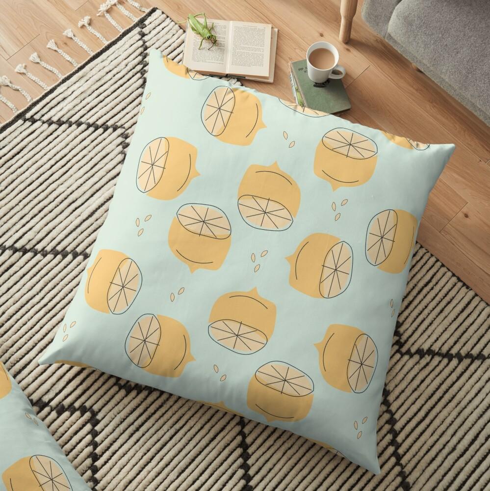 Lemon Pattern Illustration Floor Pillow