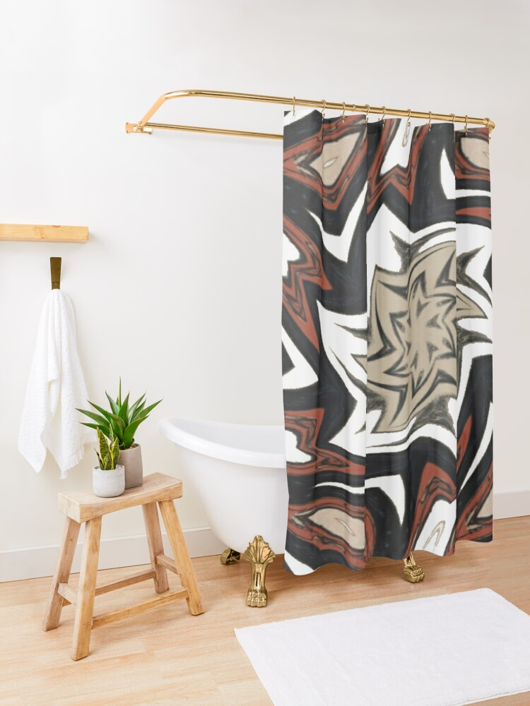 Alternate view of #Art, #pattern, #decoration, #design, illustration, graffiti, abstract, scribble, painting, tile Shower Curtain