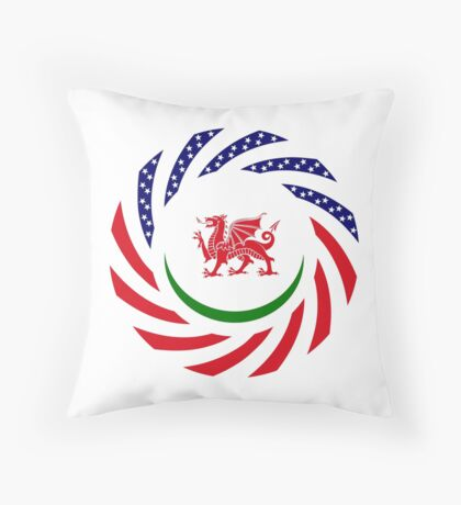 Welsh American Multinational Patriot Flag Series Throw Pillow