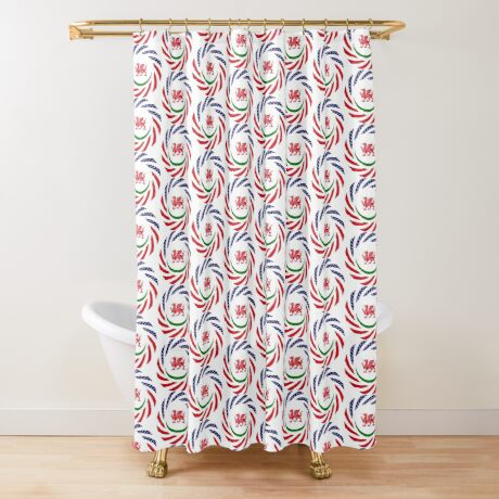 Welsh American Multinational Patriot Flag Series Shower Curtain
