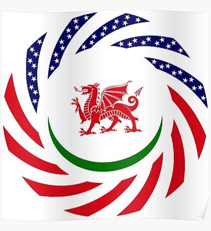 Welsh American Multinational Patriot Flag Series Poster