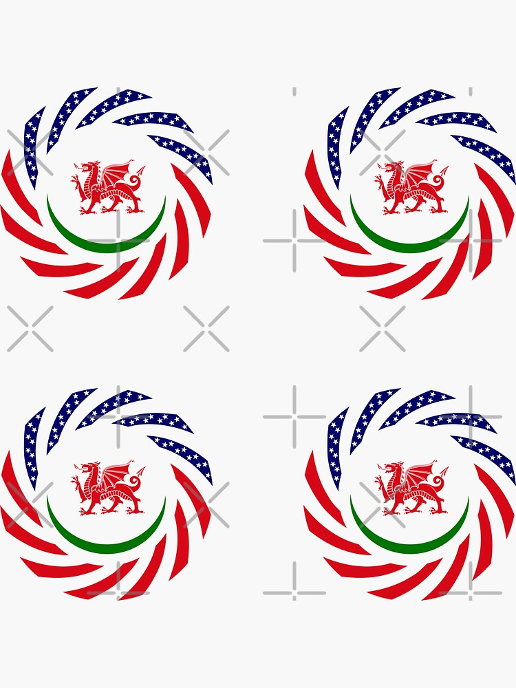 Welsh American Multinational Patriot Flag Series by carbonfibreme