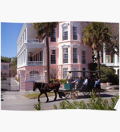 Horse Carriage at the Battery in Charleston Poster
