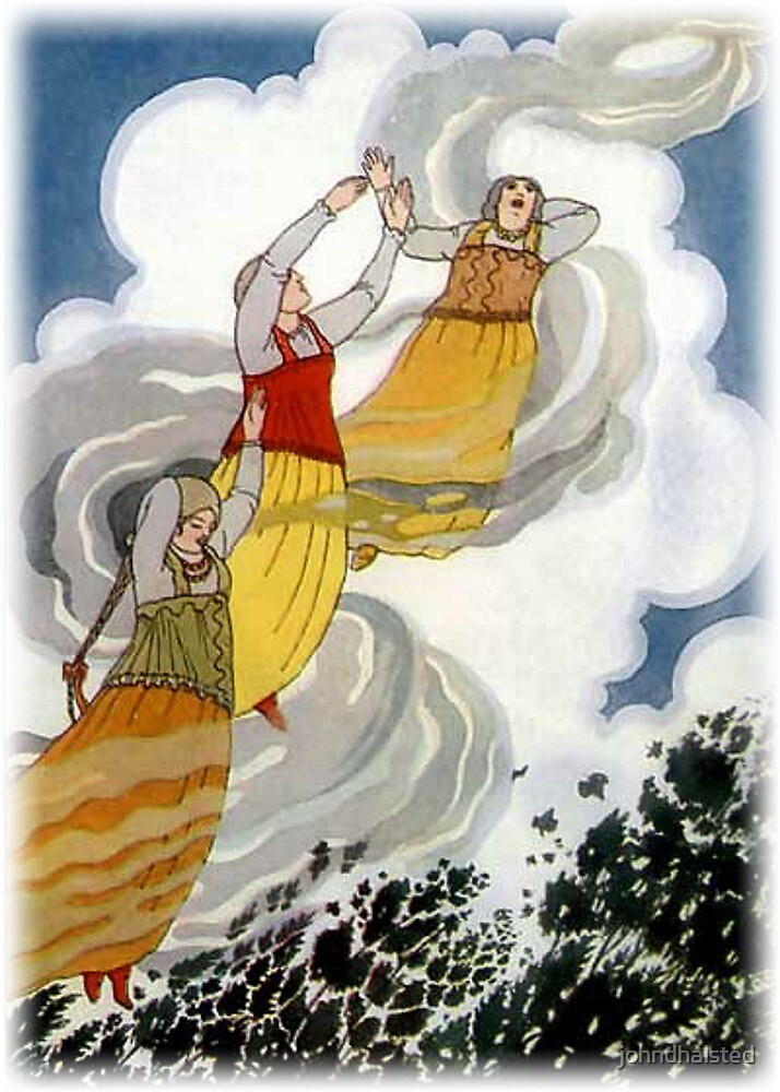 IT CAUGHT UP THE PRINCESSES AND CARRIED THEM INTO THE AIR from Old Peter's Russian Tales by johndhalsted
