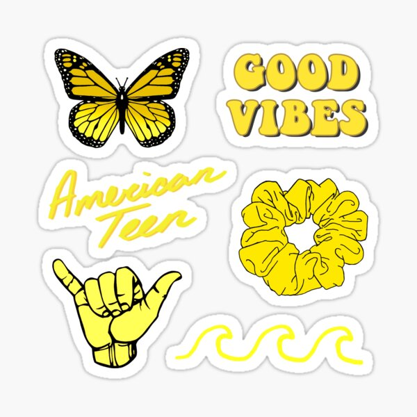Yellow Aesthetic Pack Sticker By Saracreates Redbubble