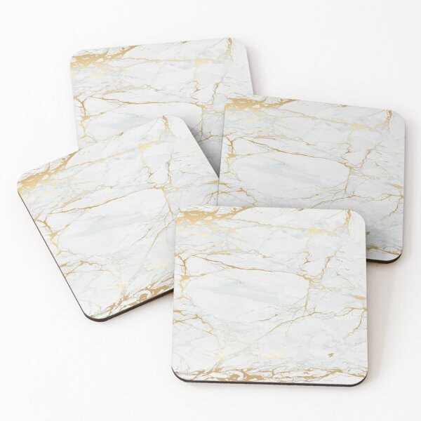 White and Gold Marble Coasters (Set of 4)