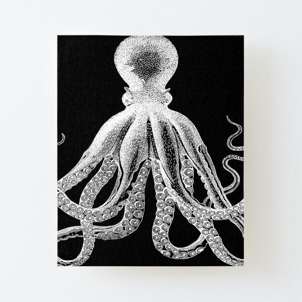 Octopus   Vintage Octopus   Tentacles   Sea Creatures   Nautical   Ocean   Sea   Beach   Black and White    Canvas Mounted Print
