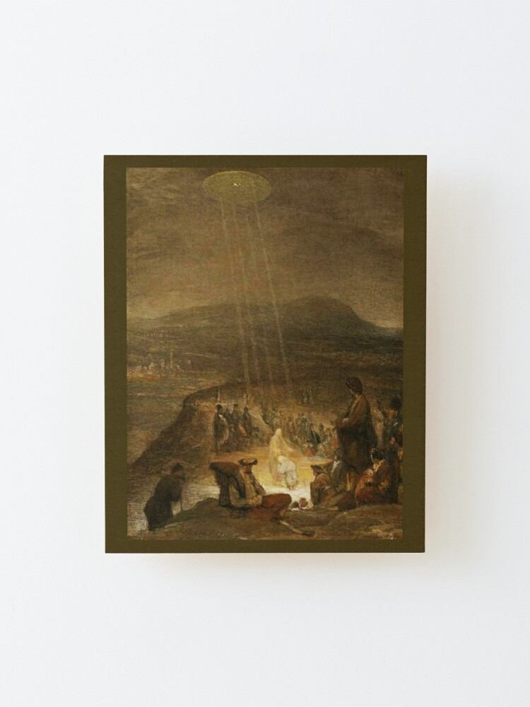 Alternate view of UFOs in Ancient Art. Baptism of Christ. 1710. Painting by, Aert de Gelder. Mounted Print
