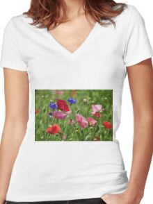 Poppies, As Is Women's Fitted V-Neck T-Shirt
