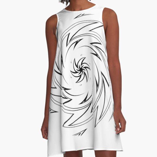 #Monochrome, #design, #art, #abstract, pattern, vector, illustration, steel, wallpaper A-Line Dress