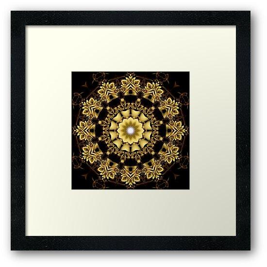 A Golden Fractal Fantasy Kaleidoscope Ring by xzendor7