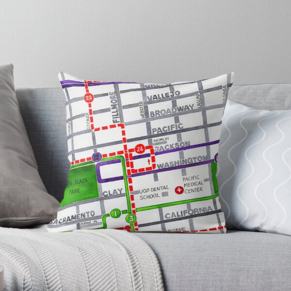 San Francisco map - Pacific Heights Throw Pillow
