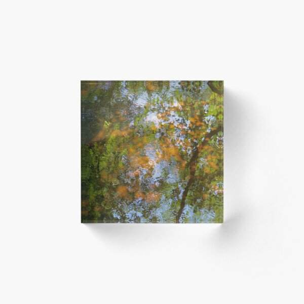 The Mill Pond in Autumn Acrylic Block