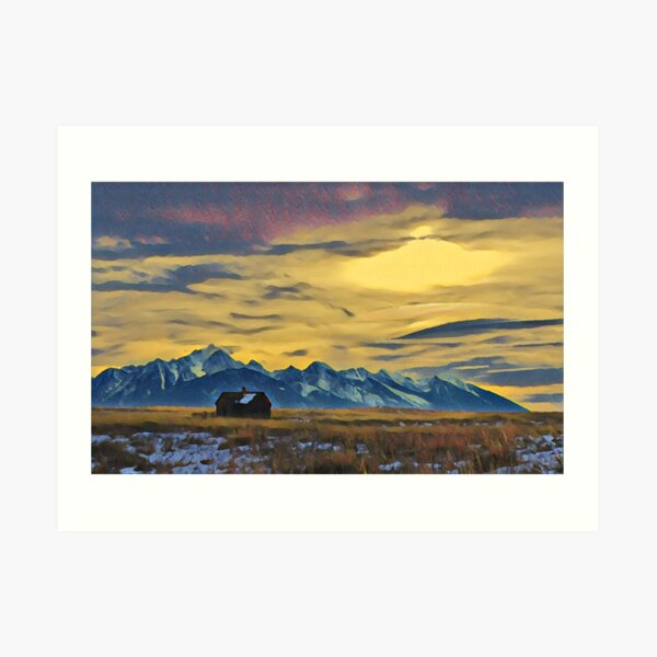 Mission Mountains Shed  Art Print
