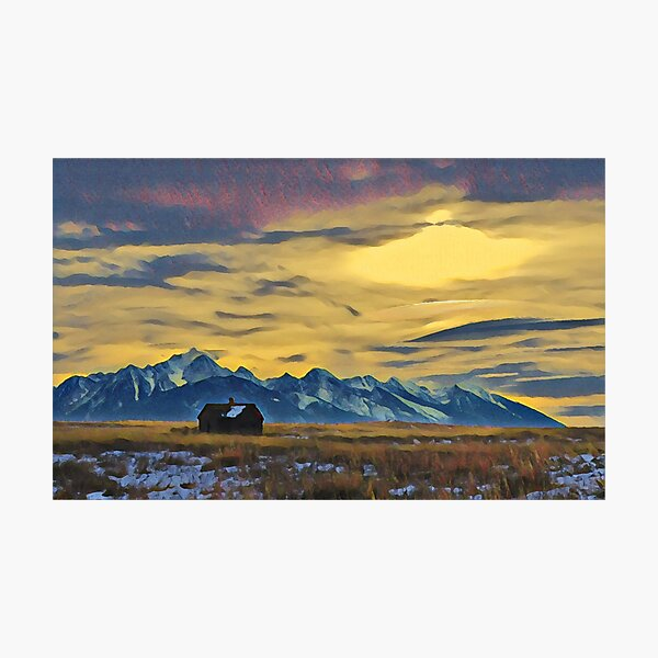 Mission Mountains Shed  Photographic Print