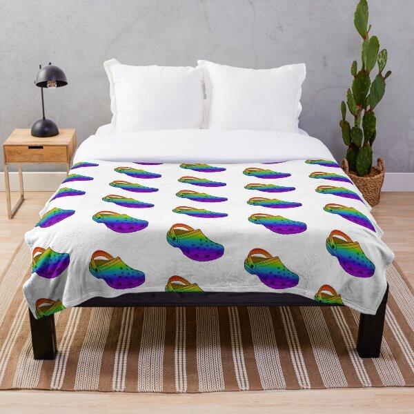 Rainbow Gradient Croc Throw Blanket