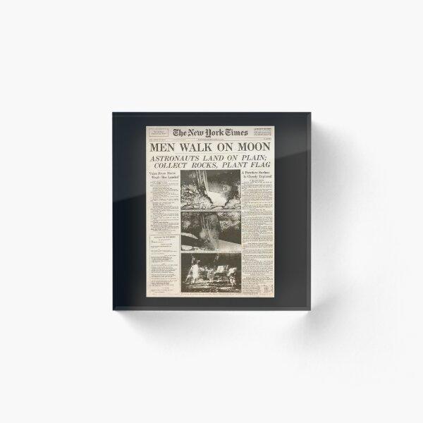 Apollo 11 50th Anniversary Moon Landing 1969 Newspaper  Acrylic Block