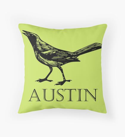 Austin Grackle Throw Pillow