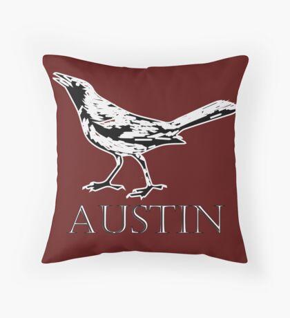 Austin Grackle - Black and White Throw Pillow