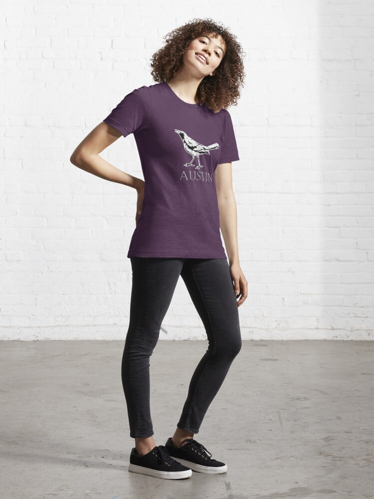 Alternate view of Austin Grackle - Black and White Essential T-Shirt