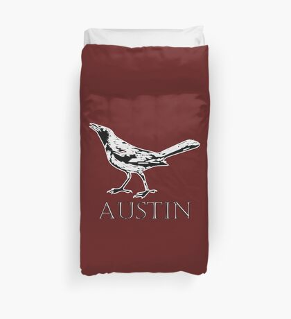Austin Grackle - Black and White Duvet Cover