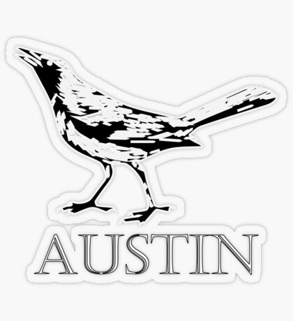 Austin Grackle - Black and White Transparent Sticker