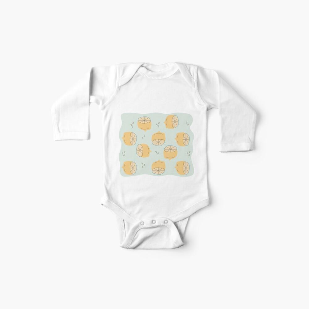 Lemon Pattern Illustration Baby One-Piece