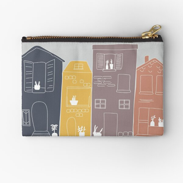 Row House Illustration Zipper Pouch