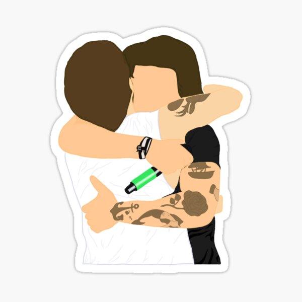 Larry Stylinson Hug (with tattoos) Sticker