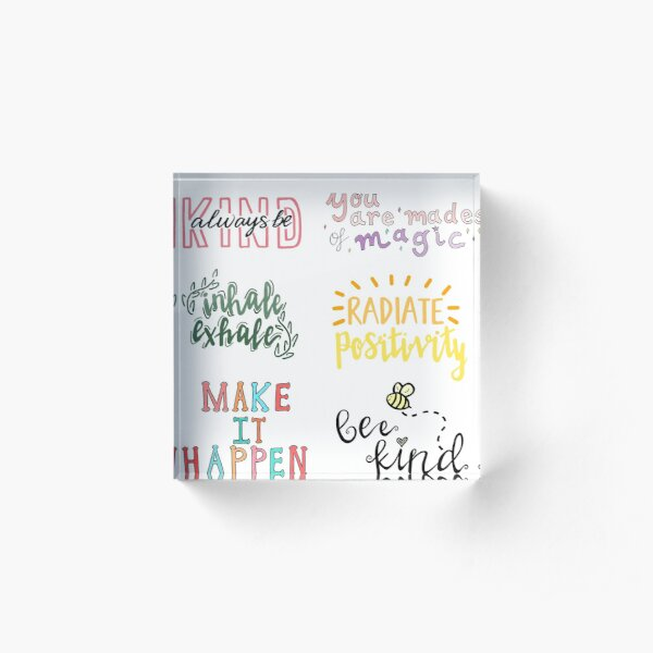 positivity sticker pack Acrylic Block