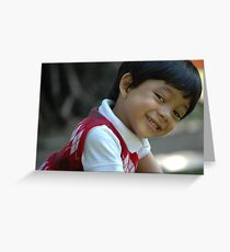 little boy with cute face Greeting Card