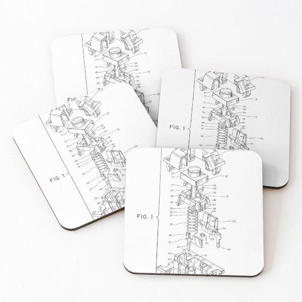 Mechanical Keyboard Cherry MX Switch Drawing Patent Coasters (Set of 4)